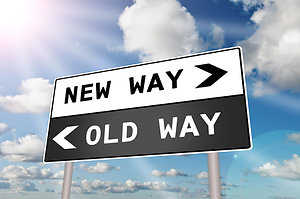 Home. new way & old way sign
